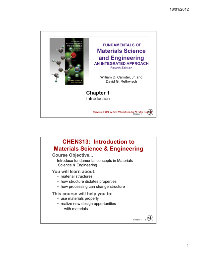 Materials Science and Engineering CHEN313: Introduction to