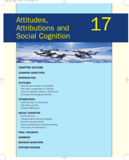 Attitudes, Attributions and Social Cognition