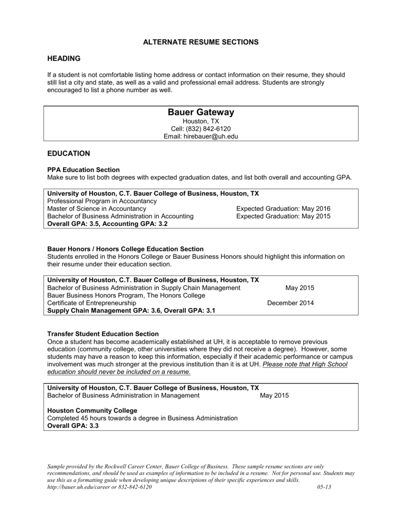 alternate rsum sections ct bauer college of business - Resume Sections