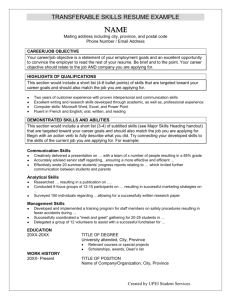 TRANSFERABLE SKILLS RESUME EXAMPLE