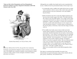cult of true womanhood outline [back to the unit four summary] barbara welter, the cult of true womanhood: 1820-1860 (1966) in the following article, historian barbara welter looks at the antebellum decades of the nineteenth century and describes an important stage in the expression of sexual stereotypes.