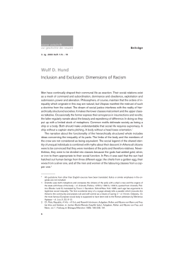 Wulf D. Hund Inclusion and Exclusion: Dimensions of Racism