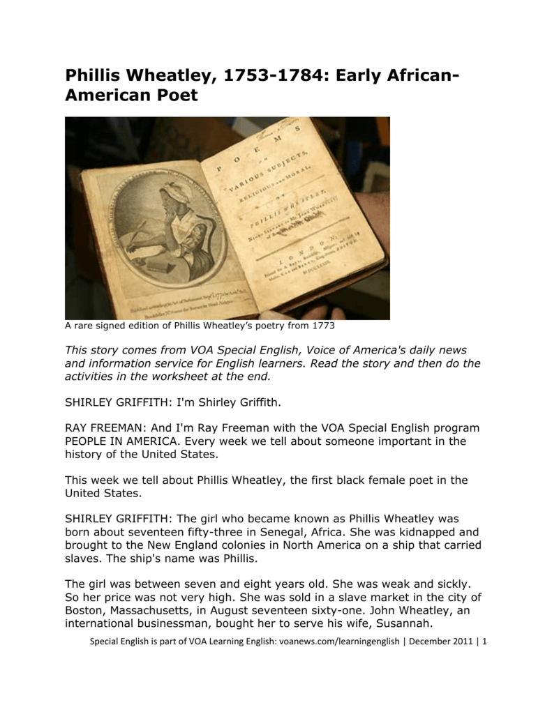 phillis wheatley poem from africa to america