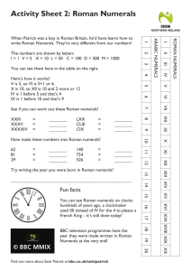 Activity Sheet 2: Roman Numerals