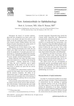 New Antimicrobials in Ophthalmology
