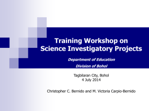 Science Investigatory Projects Training Workshop
