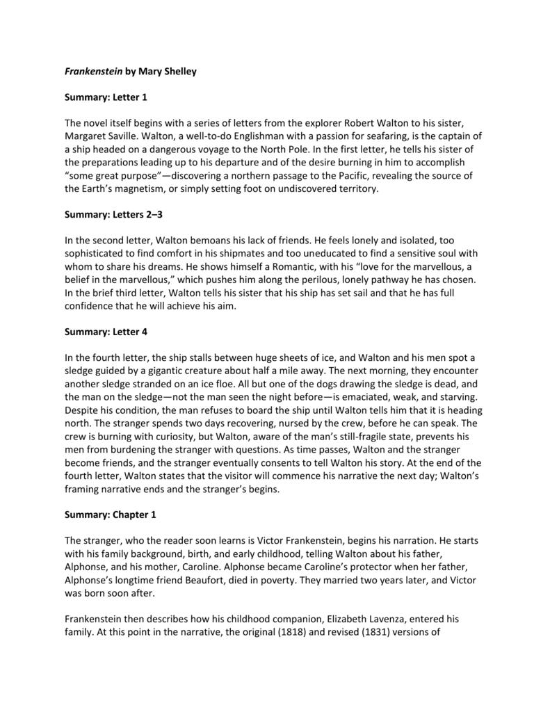 Frankenstein by Mary Shelley Summary   Eckman