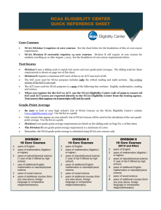 NCAA FRESHMAN-ELIGIBILITY STANDARDS