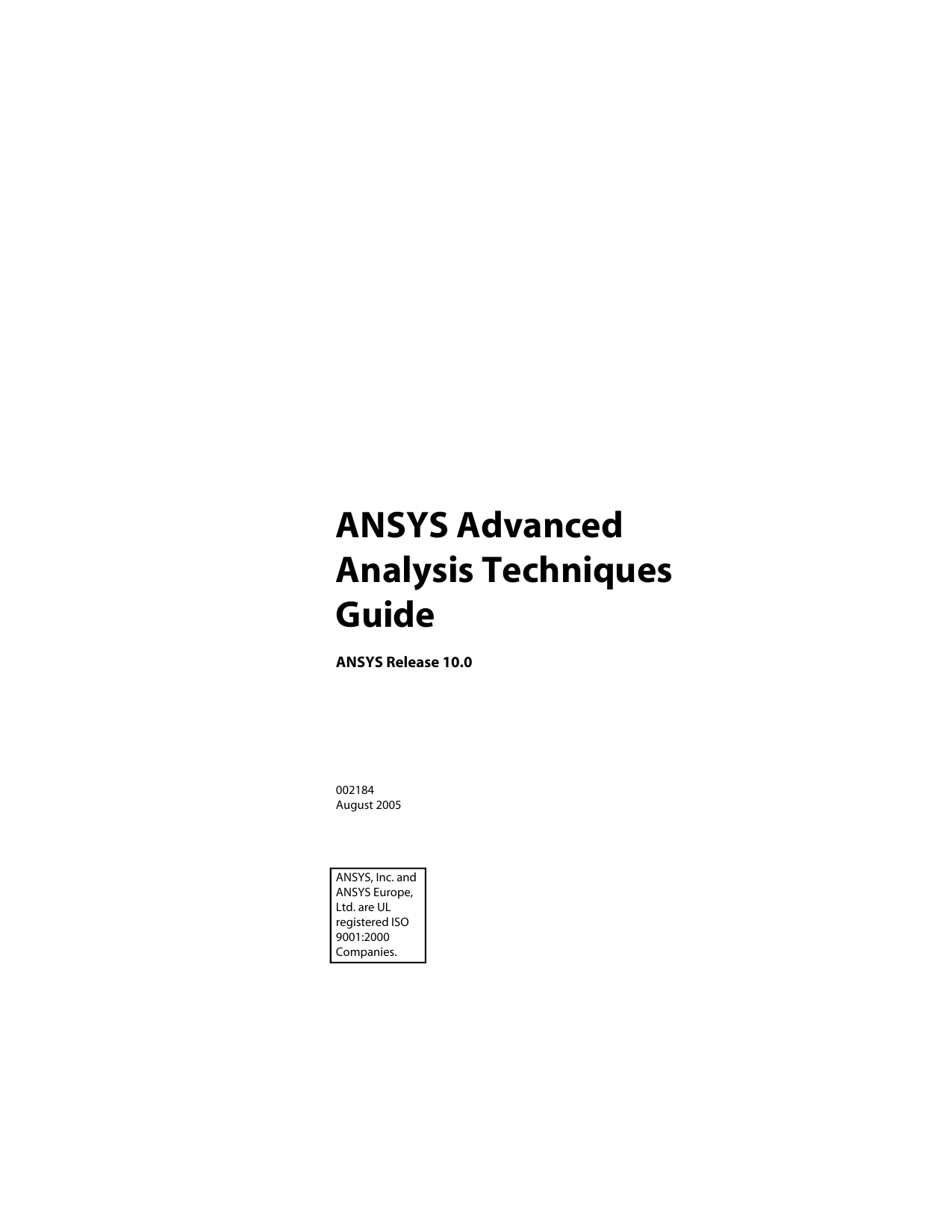 ANSYS Advanced Analysis Techniques Guide