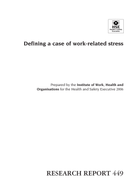 Defining a case of work-related stress