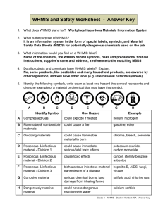 WHMIS and Safety Worksheet - Answer key
