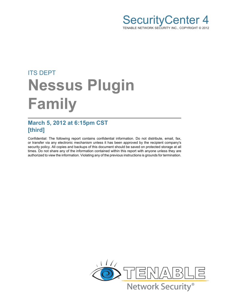 Nessus Plugin Family - Tenable Network Security