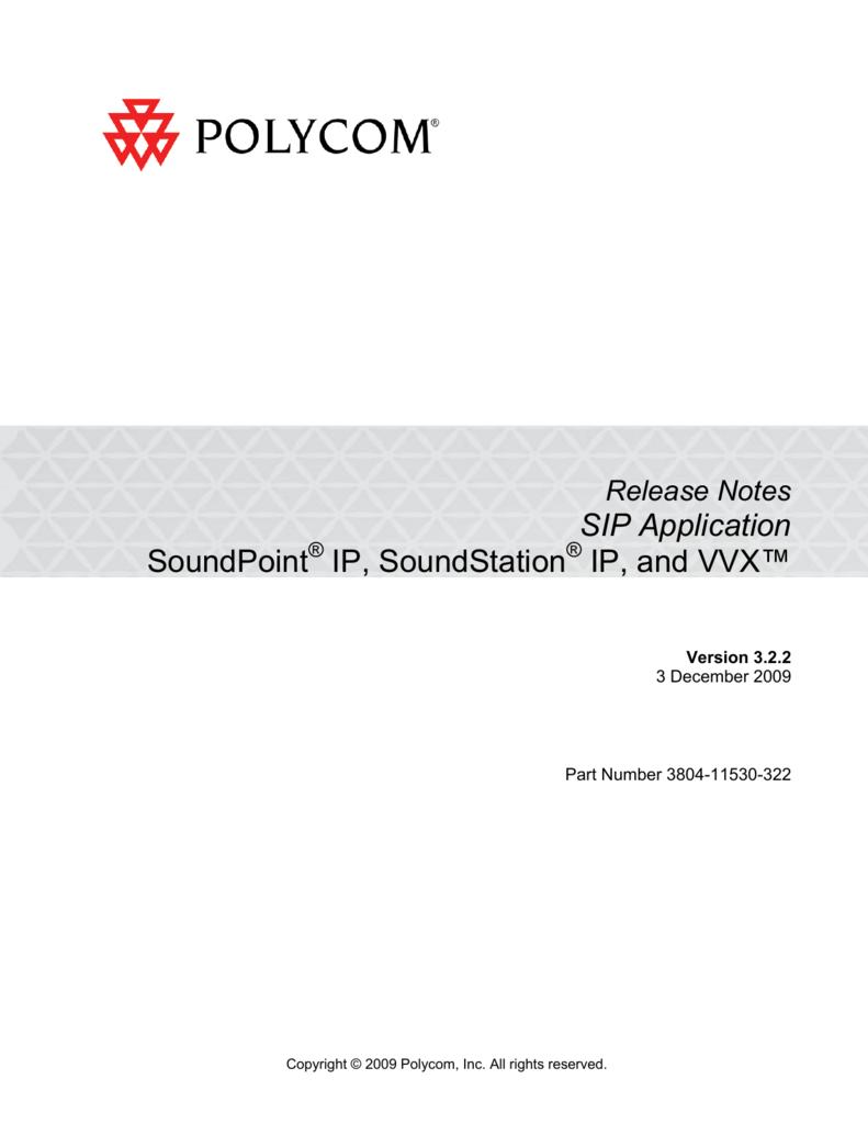 Polycom VVX SIP 3 2 2 Release Notes