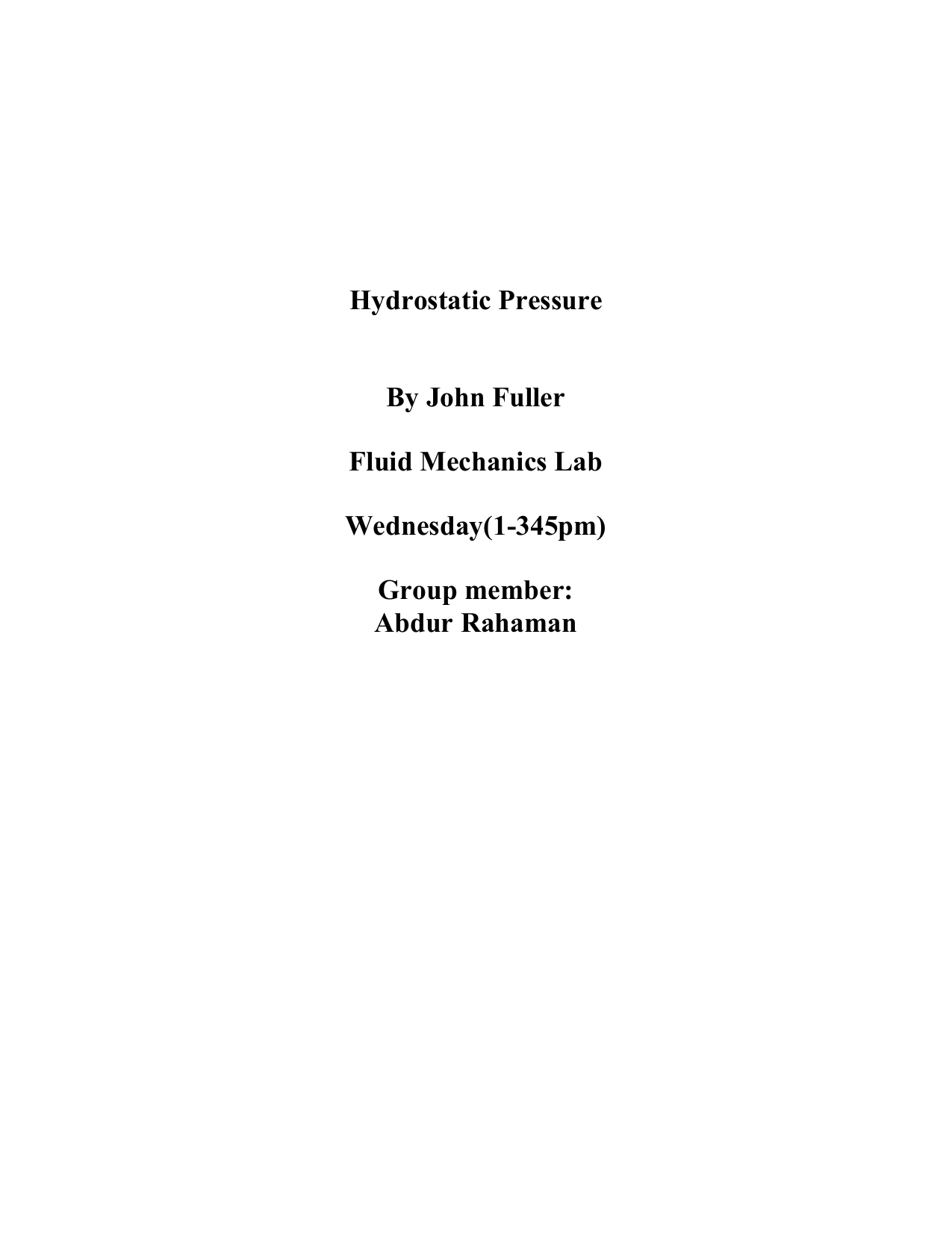 hydrostatic pressure experiment report