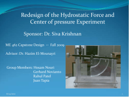 Redesign of the Hydrostatic Force and Center of pressure Experiment