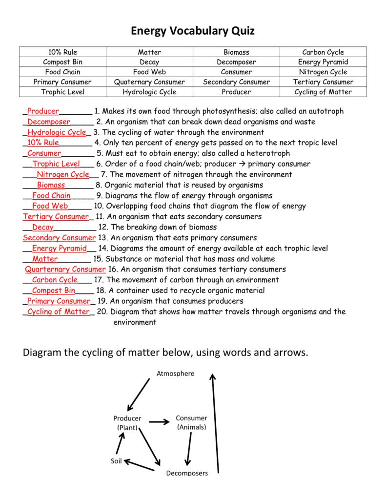 Energy Vocabulary Quiz