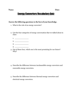 Energy Converters Vocabulary Quiz