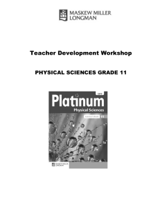 Physical Sciences Grade 11 Teacher's Development Module