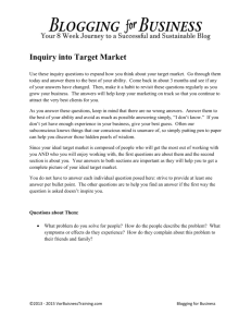 Assignment 2 - Inquiry into Target Market
