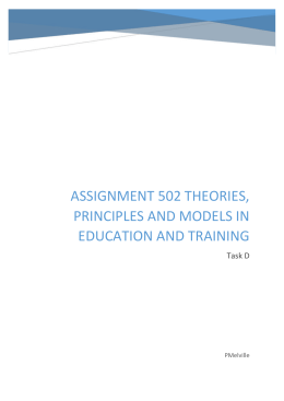 Assignment 502 Theories, principles and models in education and