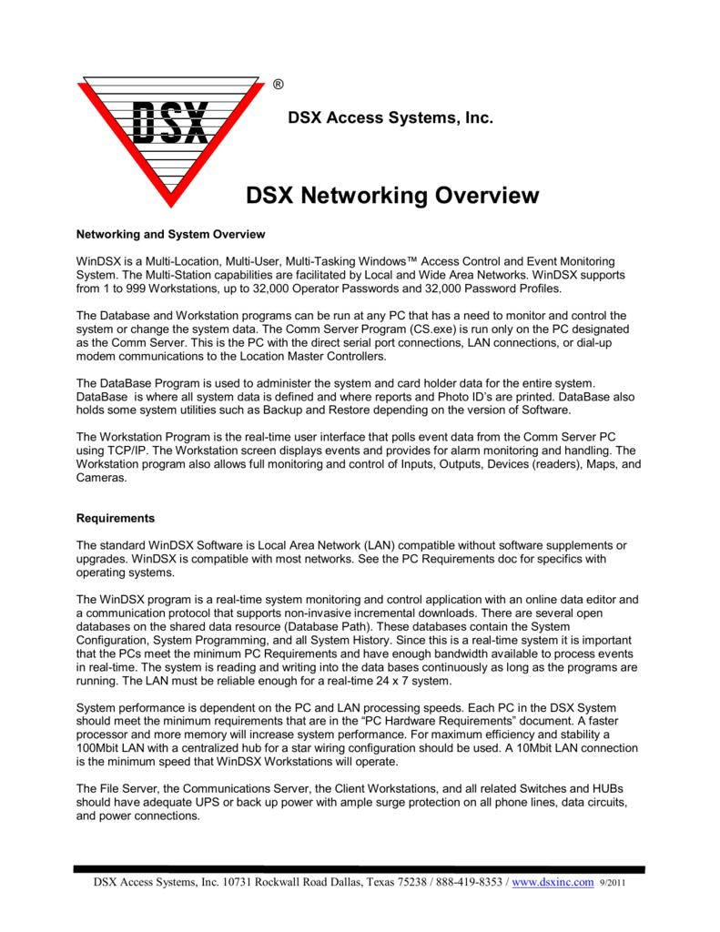 DSX Networking Overview - DSX Access Systems, Inc