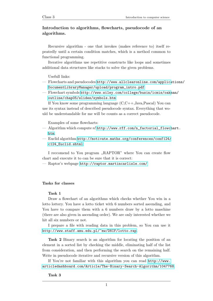 Introduction to algorithms, flowcharts, pseudocode of an algorithms