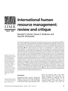International human resource management: review and critique