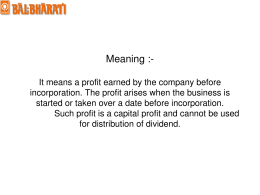 Profit prior to Incorporation