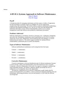 A Systems Approach to Software Maintenance