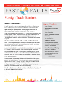 Foreign Trade Barriers - Virginia Economic Development Partnership