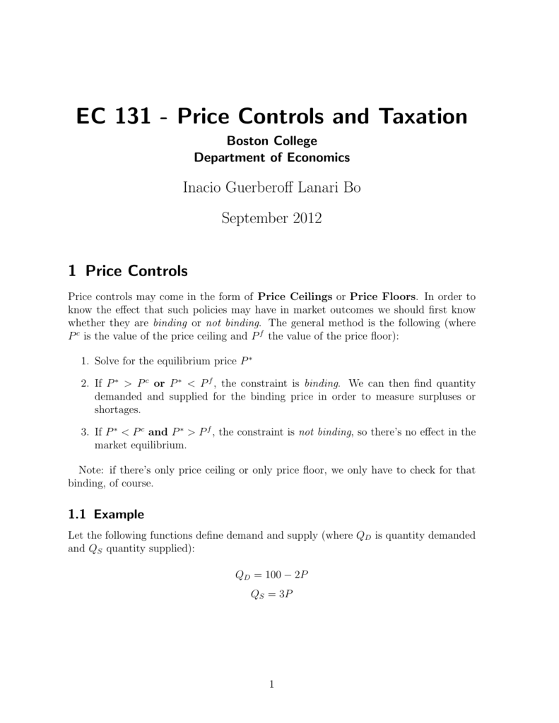 Ec 131 Price Controls And Taxation