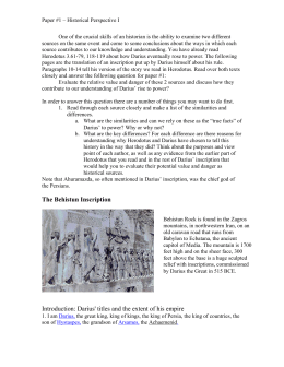 The Behistun Text and Paper #1 Topic – PDF file