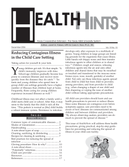 Reducing Contagious Illness in the Child Care Setting