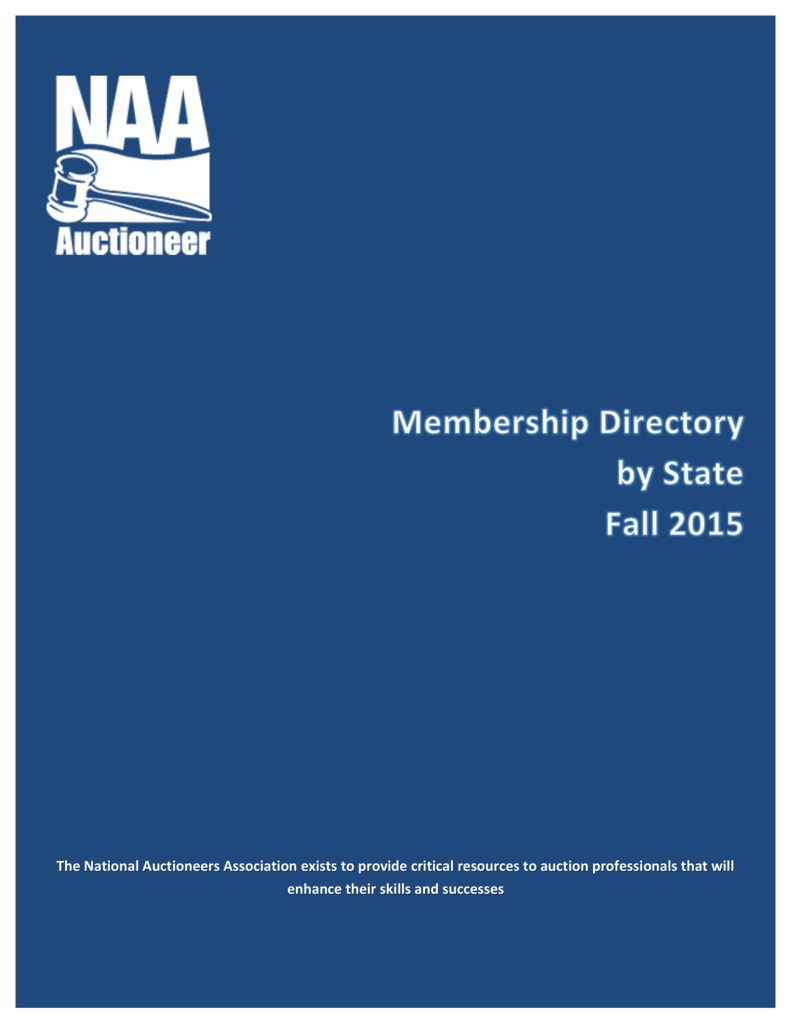 Membership Directory By State National Auctioneers Association