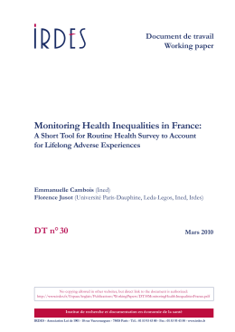 Monitoring Health Inequalities in France: A Short Tool for Routine