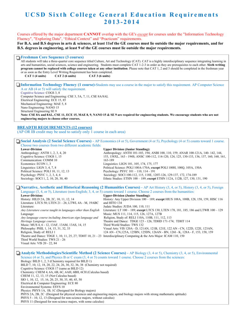 ucsd sixth college general education requirements 2013 2014