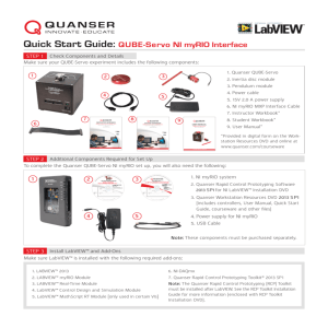 Quick Start Guide: QUBE-Servo NI myRIO Interface