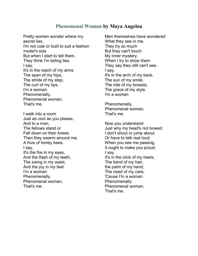 Maya Angelou Phenomenal Woman Poem