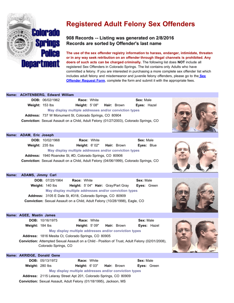 Colorado sex offender records