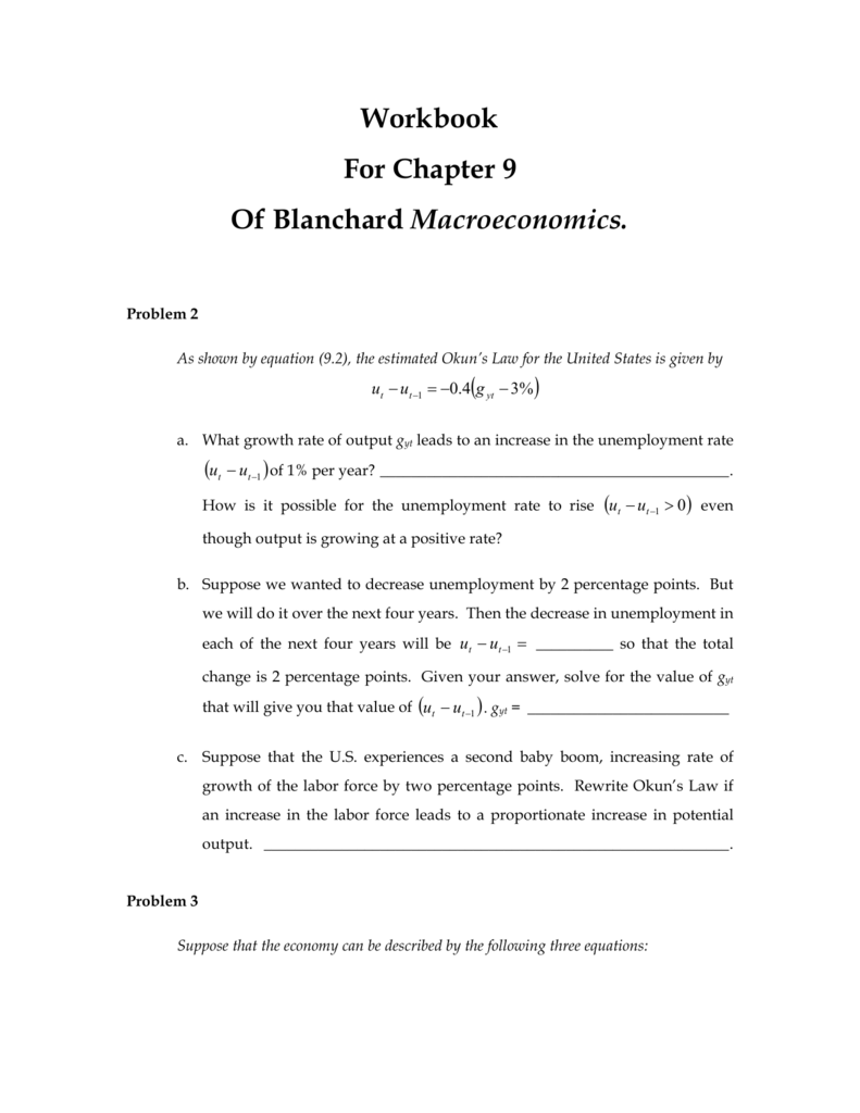 Workbook For Chapter 9 Of Blanchard Macroeconomics.
