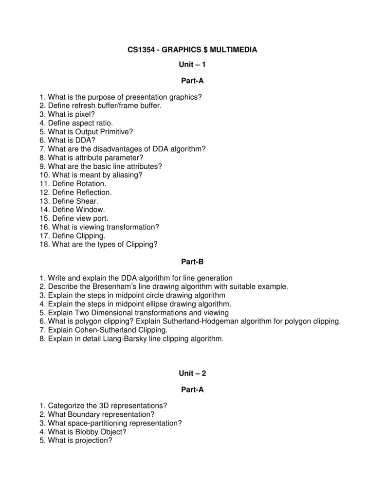 CS1354 - GRAPHICS $ MULTIMEDIA Unit – 1 Part