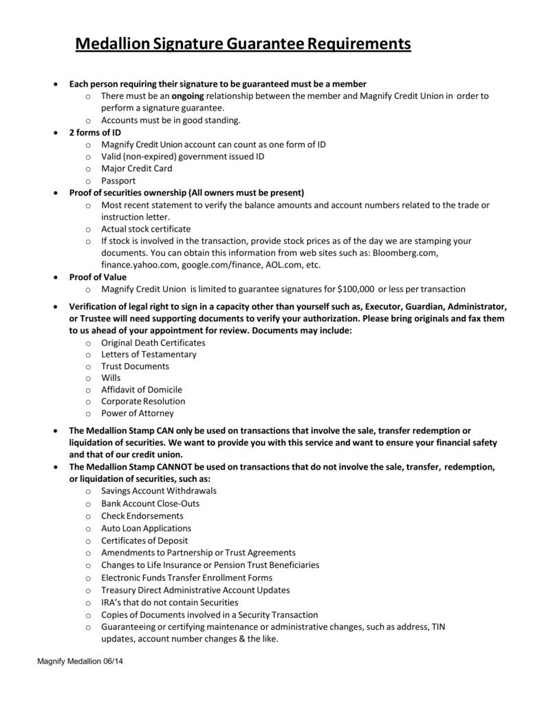 Medallion Signature Guarantee Requirements
