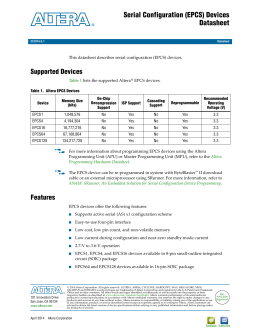 Serial Configuration (EPCS) Devices Datasheet