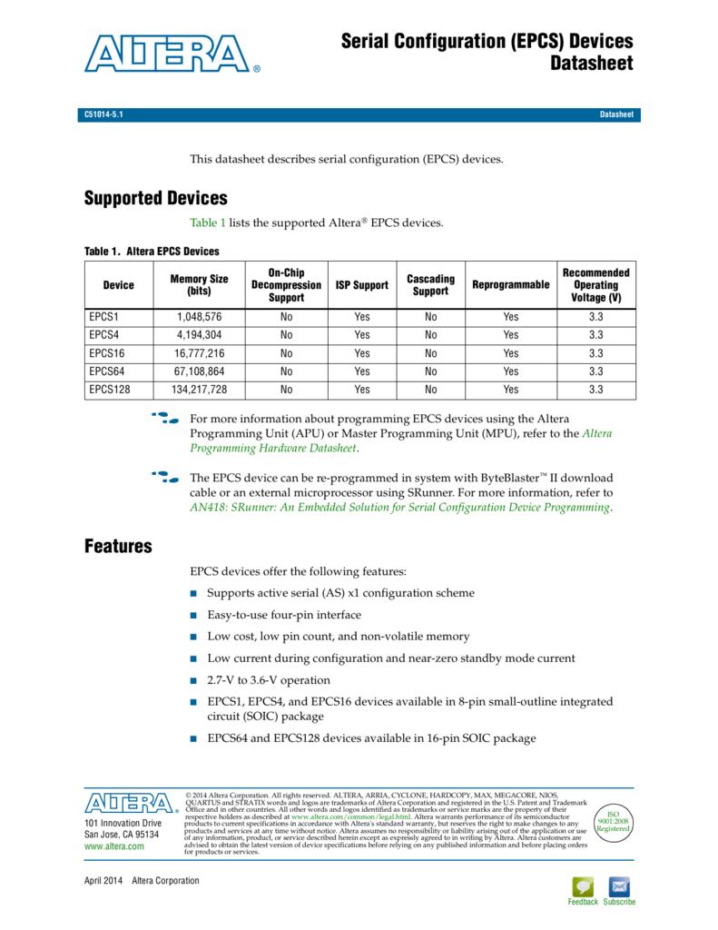 Serial Configuration (EPCS) Devices Datasheet