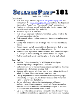 Senior Year Checklist - CollegePrep-101