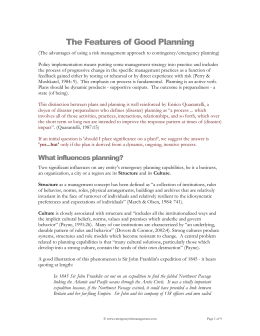The Features of Good Planning