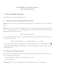 1 Notes on Markov processes