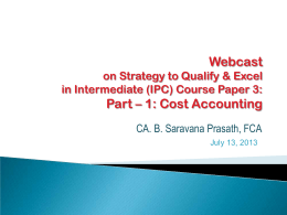 Webcast Part – 1: Cost Accounting