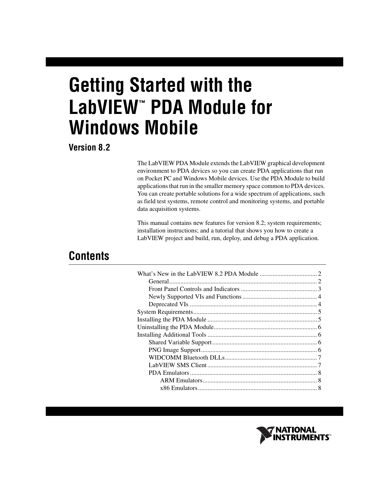 Getting Started with the LabVIEW PDA Module for Windows Mobile