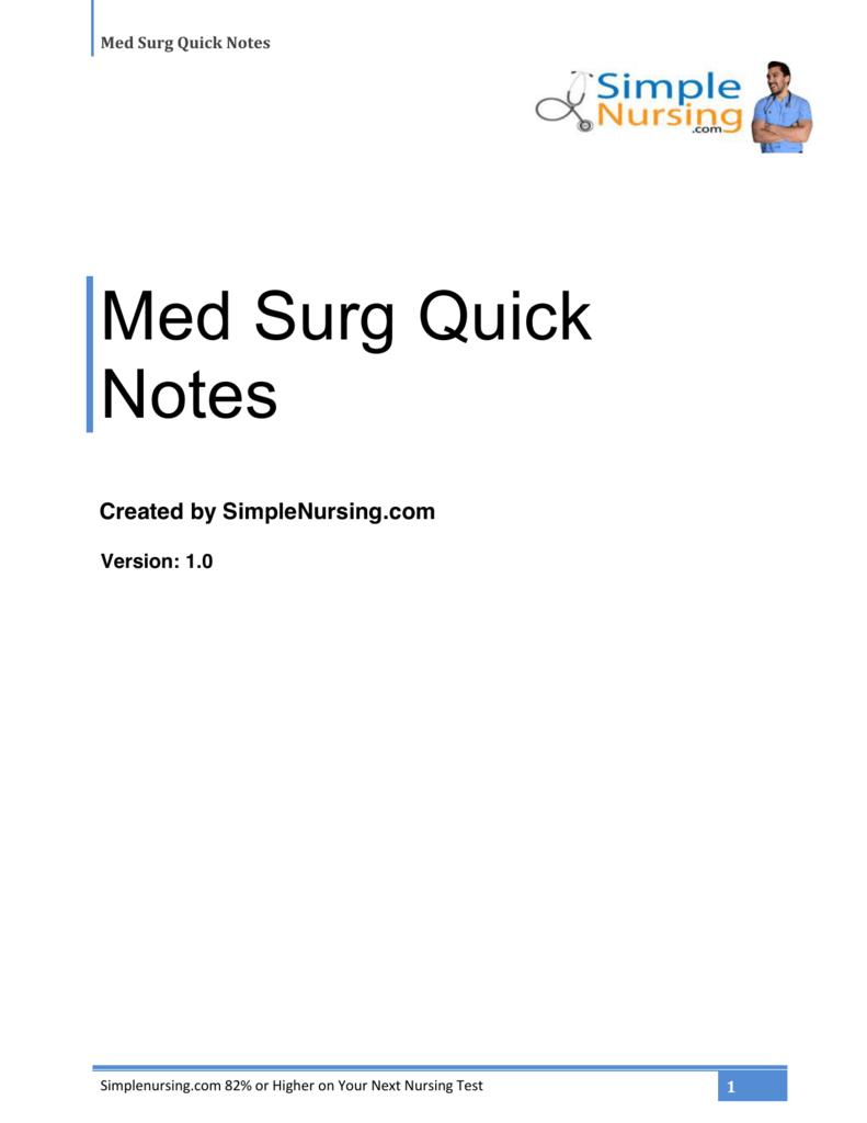 Med Surg Quick Notes